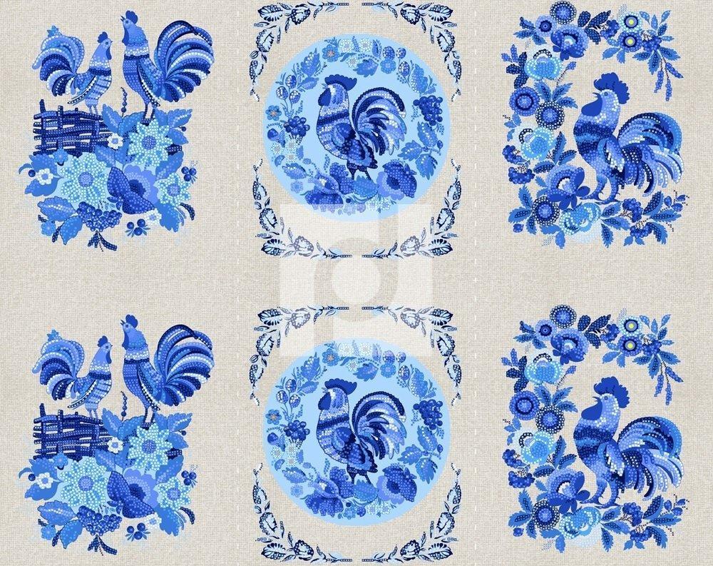 Петухи Вышивка (синий)