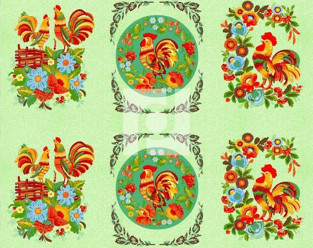 Петухи Вышивка (салатовый)